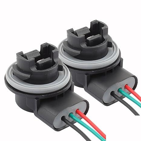 TOMALL 3157 T25 Bulb Sockets Female Adapter for Automotive Light Bulbs  Brake Light(Pack of 2) 2 tabs