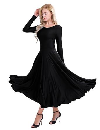 6b4c627d3f6 MSemis Women s Praise Dance Dresses Long Sleeve Full Length Long Sleeve  Liturgical Dress Black Small