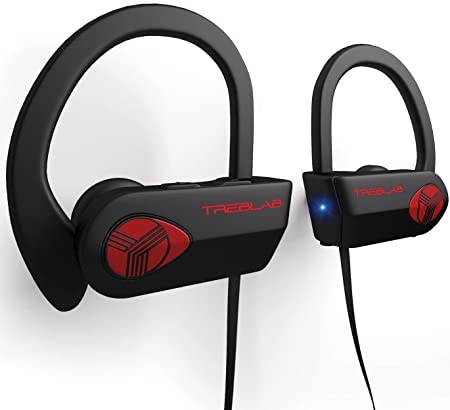 TREBLAB XR500 Bluetooth Headphones, Best Wireless Earbuds for Sports, Running or Gym Workout. 2018 Updated Version. IPX7 Waterproof, Sweatproof, Secure-Fit Headset. Noise Cancelling Earphones w Mic