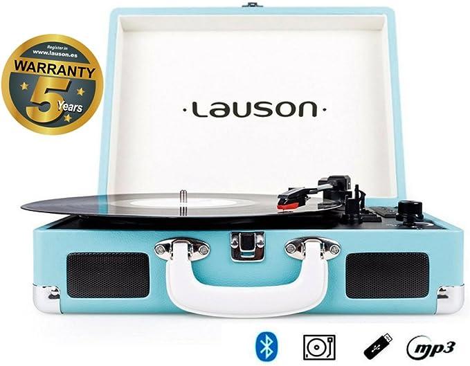 Lauson Tocadiscos Maletín, Bluetooth, USB, Salida RCA, Función ...