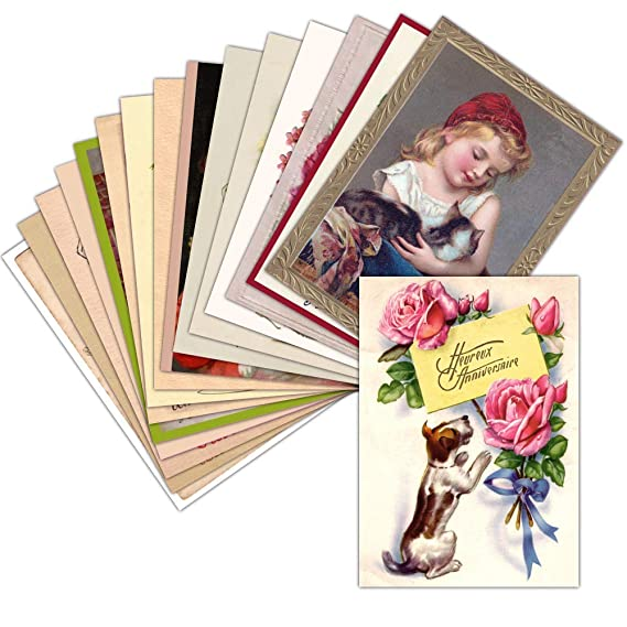 Tarjeta cumpleaños antigua - Lote de 16 tarjetas diferentes ...