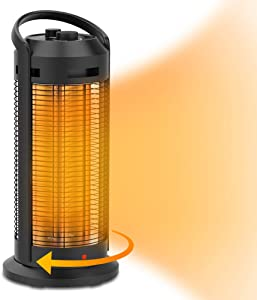 1500W Infrared Tower Heater for Office, Indoor Use, Electric Oscillating Space Heater with Overheat Shut Off Protection, Thermostat Control, Quiet and Fast Heating