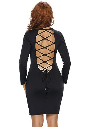 9d81b3aa0ab0 Wowforu Sexy Back Criss Cross Bodycon Long Sleeve Evening Party Cocktail  Mini Bandage Dress: Amazon.co.uk: Clothing