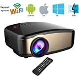 Wireless Wifi Video Projector,Weton Full HD 1080P LED Home Theater Movie Projector Portable Mini Projector for iphone With HDMI USB Headphone Jack TV Good for Home Cinema XBOX ONE 130'' Max Dispaly
