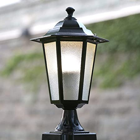 J-Farola De Exterior Luz del Pilar Columna LED Lámpara Impermeable Patio Luz de grama Villa Puerta Decoración Jardín Poste de luz E27 Lámpara de Jardín (Color : Black): Amazon.es: Hogar