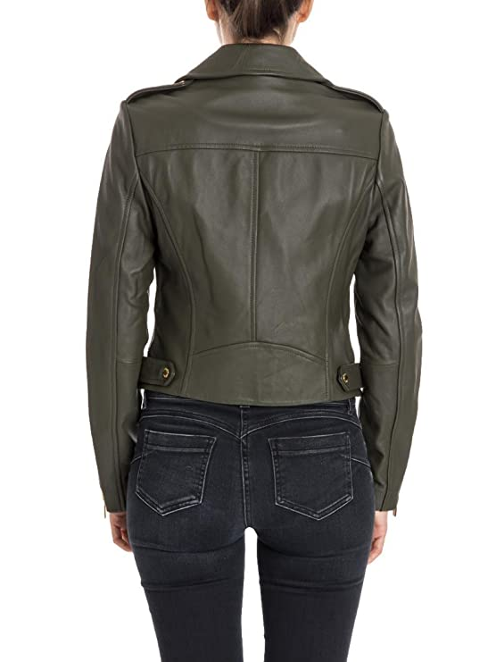 MICHAEL Michael Kors Giacca in Pelle MS71EKV12 Military Green Size:L: Amazon.es: Ropa y accesorios
