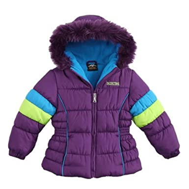 Amazoncom Pacific Trail Girls Purple Color Block Winter Coat Fur