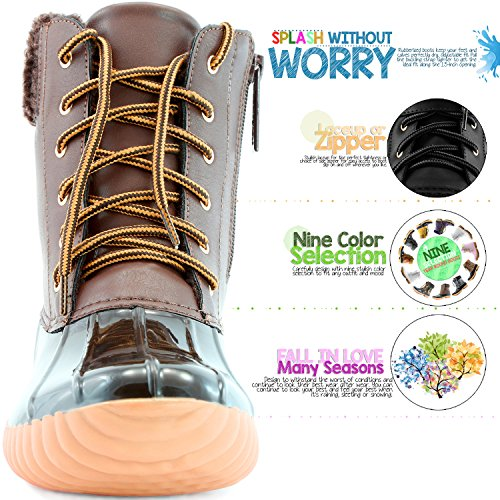 pu Ankle Booties Snow High DailyShoes Rain Collar Mud up Cashmere Duck brown Boots Women's Warm Rubber Padded wgqWxaR