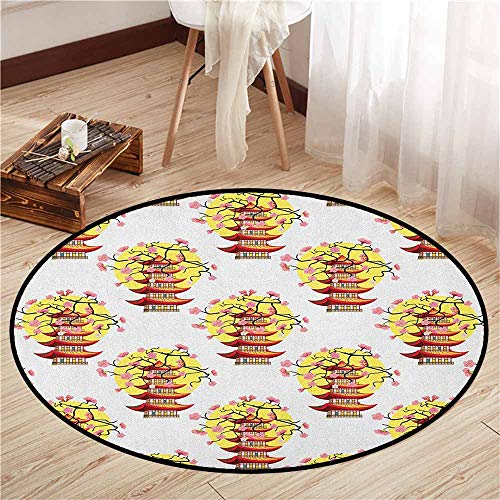 Skid-Resistant Rugs,Ancient China,Chinese Pagoda Illustration in Lively Colors with Sakura Cherry and Sunset,Super Absorbs Mud,2'7