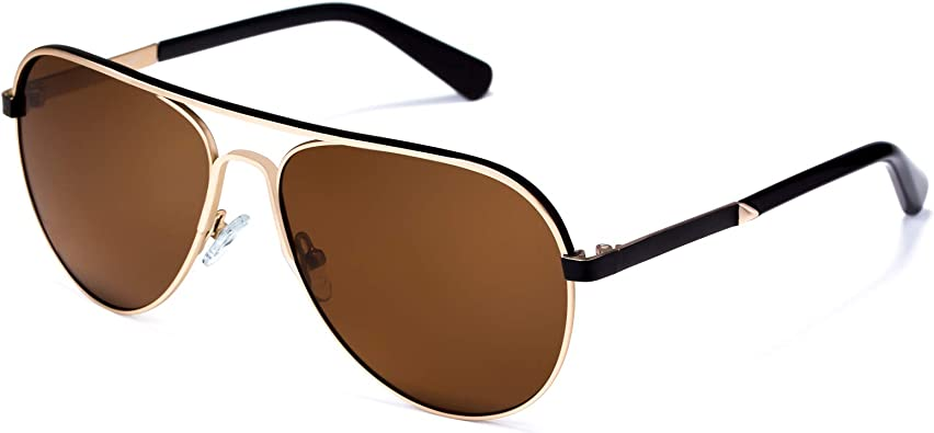 Gold Brown Lens Mens Polarized Sunglasses Aviator Driving Outdoor Sports Goggles Eyewear