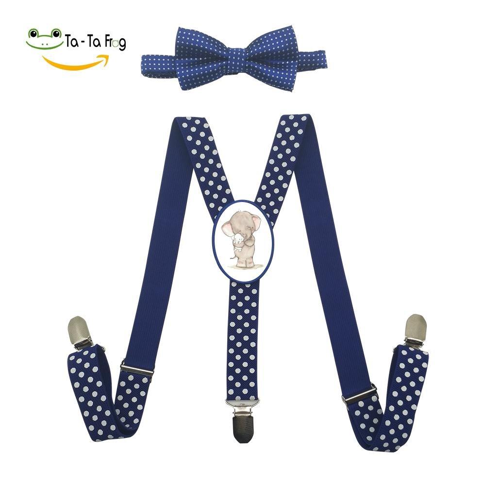 Xiacai Cartoon Elephant Suspender/&Bow Tie Set Adjustable Clip-On Y-Suspender Boys