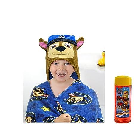 Paw Patrol – Toalla de baño con capucha Bubble baño 8 oz Chase