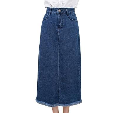 NiSeng Women High Waist A Line Denim Maxi Skirts Bodycon Jeans Long