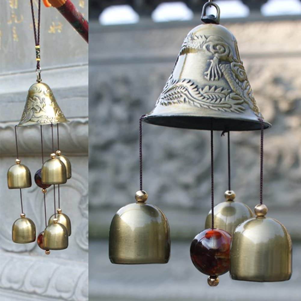 Patgoal Antique Copper 6 Bells Lucky Wind Chimes Outdoor Home Decoration