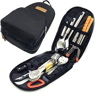 Papa Care Camp Kitchen Utensil Set 27 Piece Organizer Travel Portable BBQ Camping Cookware Utensils Kit