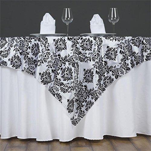 (Efavormart Black Damask Flocking Square Tablecloth Overlay 60