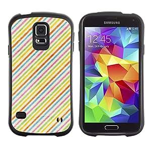 All-Round híbrido de goma duro caso cubierta protectora Accesorio Generación-I BY RAYDREAMMM - Samsung Galaxy S5 SM-G900 - Stripes Colorful Rainbow Wallpaper Red
