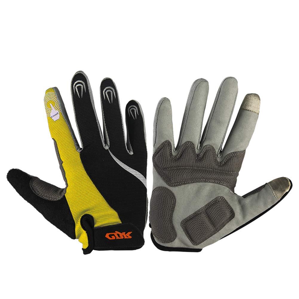Sxlh Handschuhe Vollfinger Mit Touchscreen Funktion Größe Ajustable Größe Funktion Rutschfestes Unisex Mountain Bike Downhill Motorrad,Yellow,M be5939