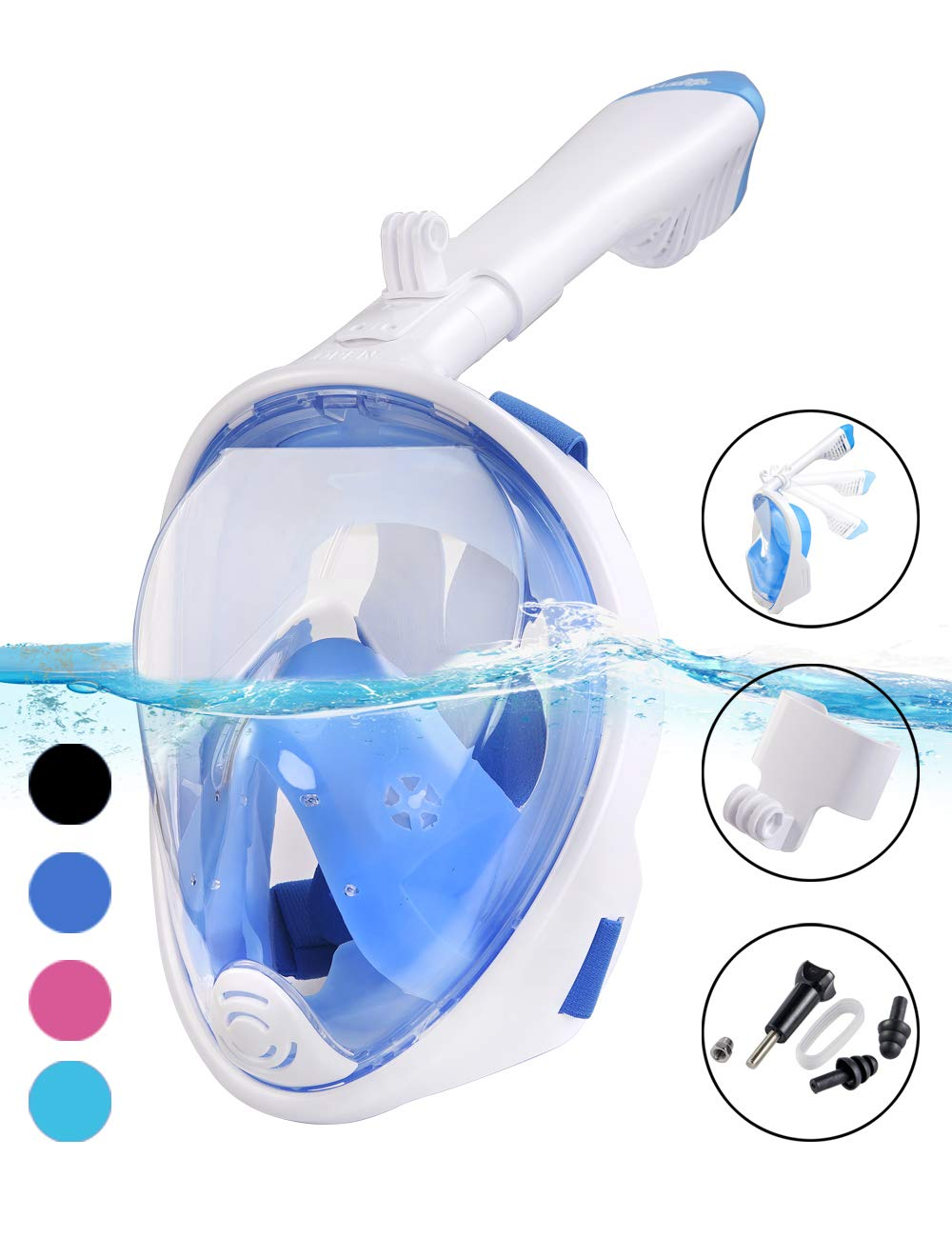 X-Lounger Snorkel Mask, 2019 New Foldable Snorkeling Mask Full Face with Detachable Camera Mount Pivot Arm and Earplug, 180° Large View Easy Breath Dry Top Set Anti-Fog Anti-Leak for Adults Blue S M