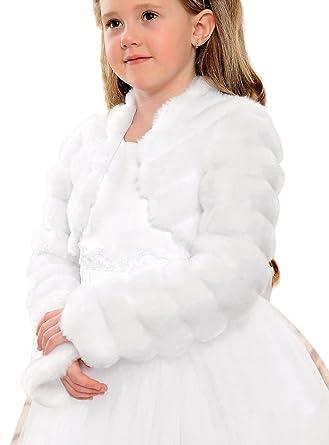e1af4a404652e Boutique-Magique boléro Fourrure Enfant Blanc ou Ivoire Mariage cérémonie  Communion  Amazon.fr  Vêtements et accessoires