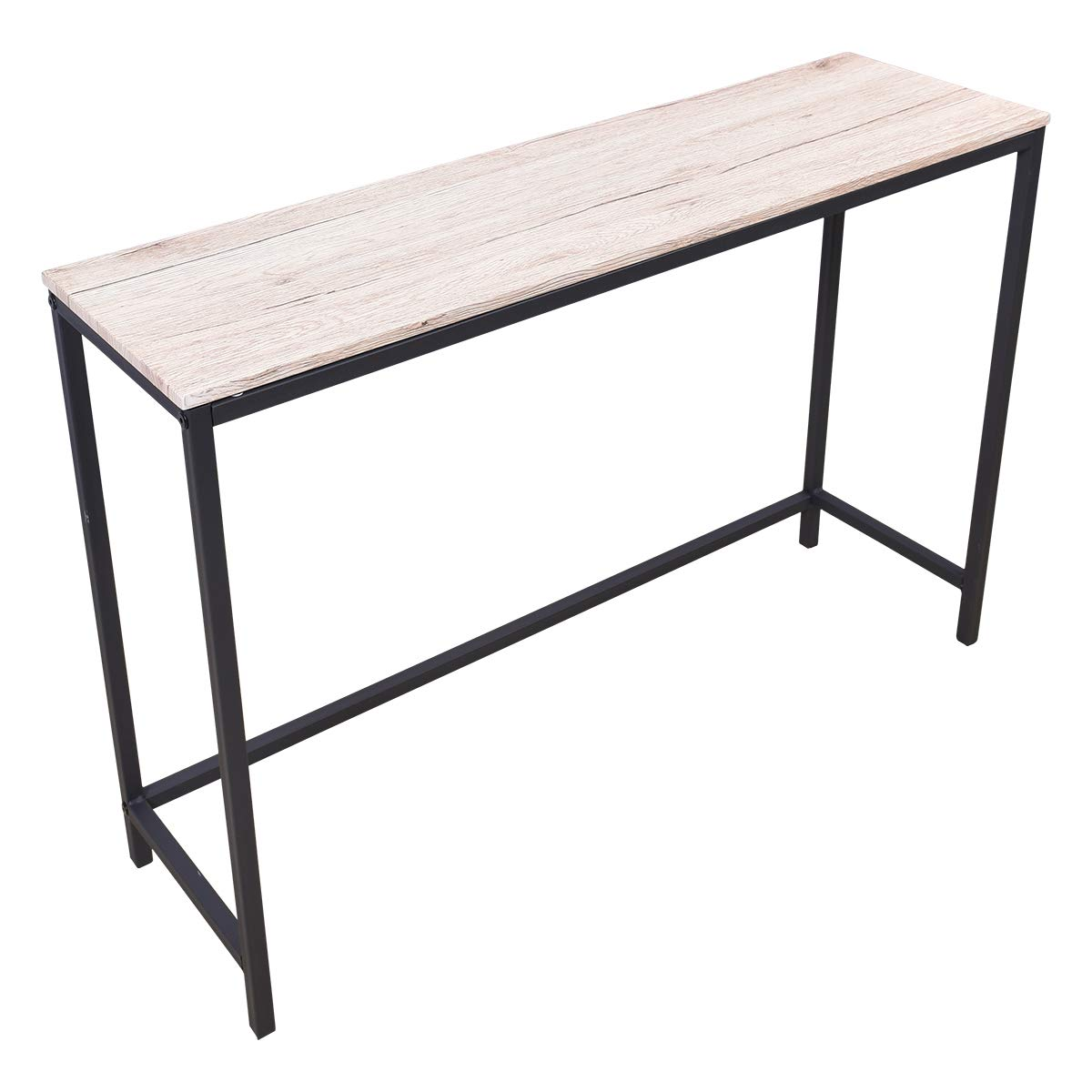 BOFENG Rustic Writing Desk,Home Office Table with Solid Wood and Heavy Duty Metal Frame as Computer Desk or Study Desk Natural Wood