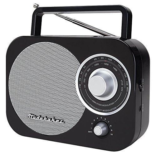 Studebaker SB2000BKS Black/Silver Retro Classic Portable AM/FM Radio with Aux Input Piano Black Limited Edition