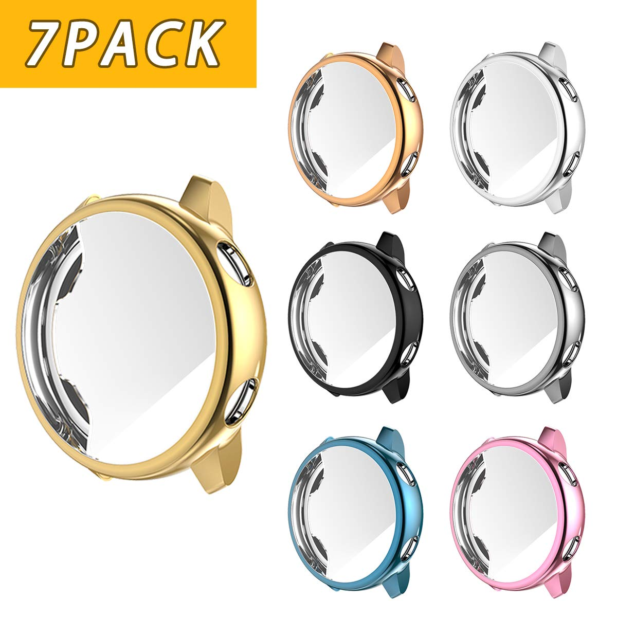 Landhoo Screen Protector for Samsung Galaxy Watch Active, Soft TPU Full Coverage Case, Electroplate Protective Cover Shell (7COLORS) by Landhoo