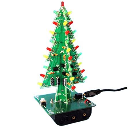 aideepen 3d christmas tree led flashing light diy kit 3 colors red green yellow led flash