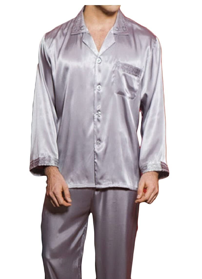 ouxiuli Men Slim Shirts Slim Fit Silk Like Satin Dress Shirts Dance Prom Shirts