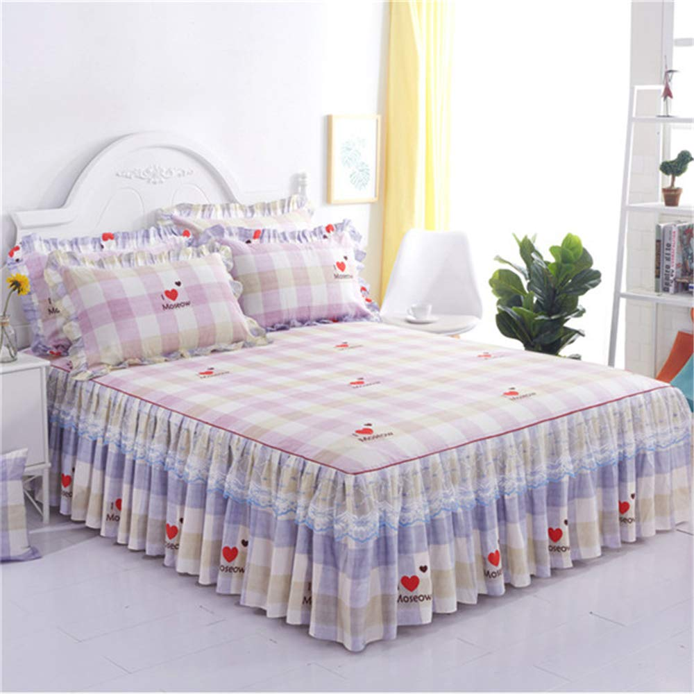 FENGDONG Romantic Bed Skirt Non-Slip Fitted Sheet Cover Bedspread Chiffon Bed by FENGDONG