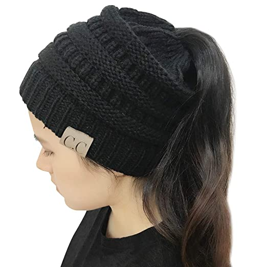 MissPretty CC Beanie Ponytail Messy Bun Tail Womens Solid Ribbed Hat ... 2f1a2037415f