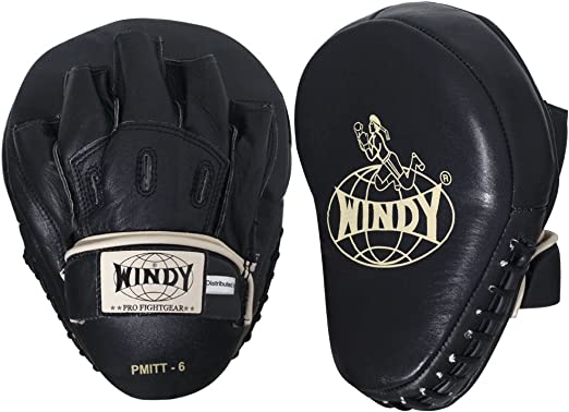 WINDY FOCUS MITTS CURVED PP-10 GREEN GENUINE LEATHER MUAY THAI KICK BOXING MMA