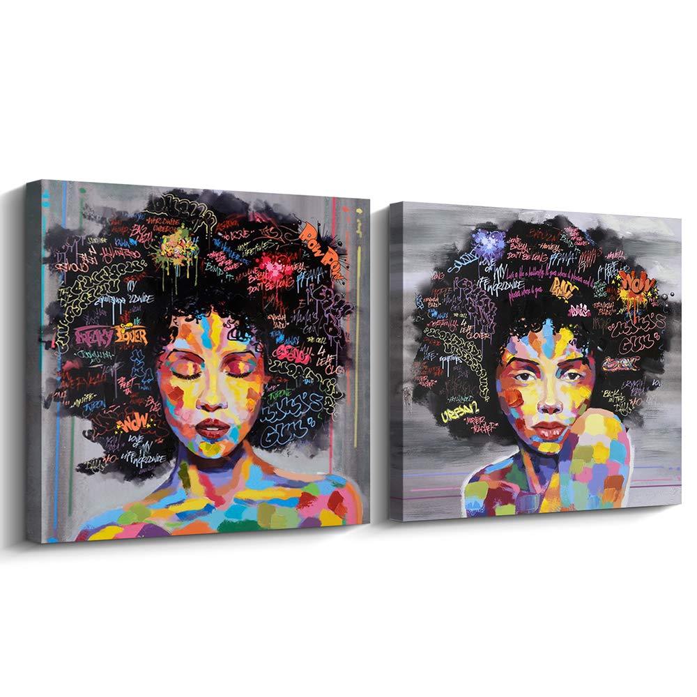 Pinetree art african american black art canvas wall art original designed pop graffiti style canvas painting on print 40 x 40 inch a framed b framed