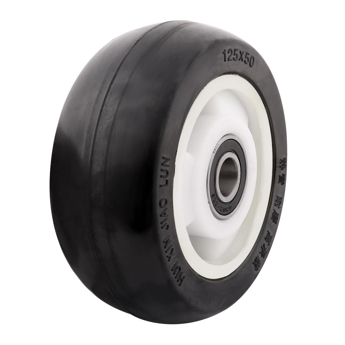 uxcell 5'' Rubber on Hard plastic Wheel with Bearing, shim, and Bushing, Replacement For Carts, Furniture, Dolly, Workbench, Trolley, Black, Wheel Only