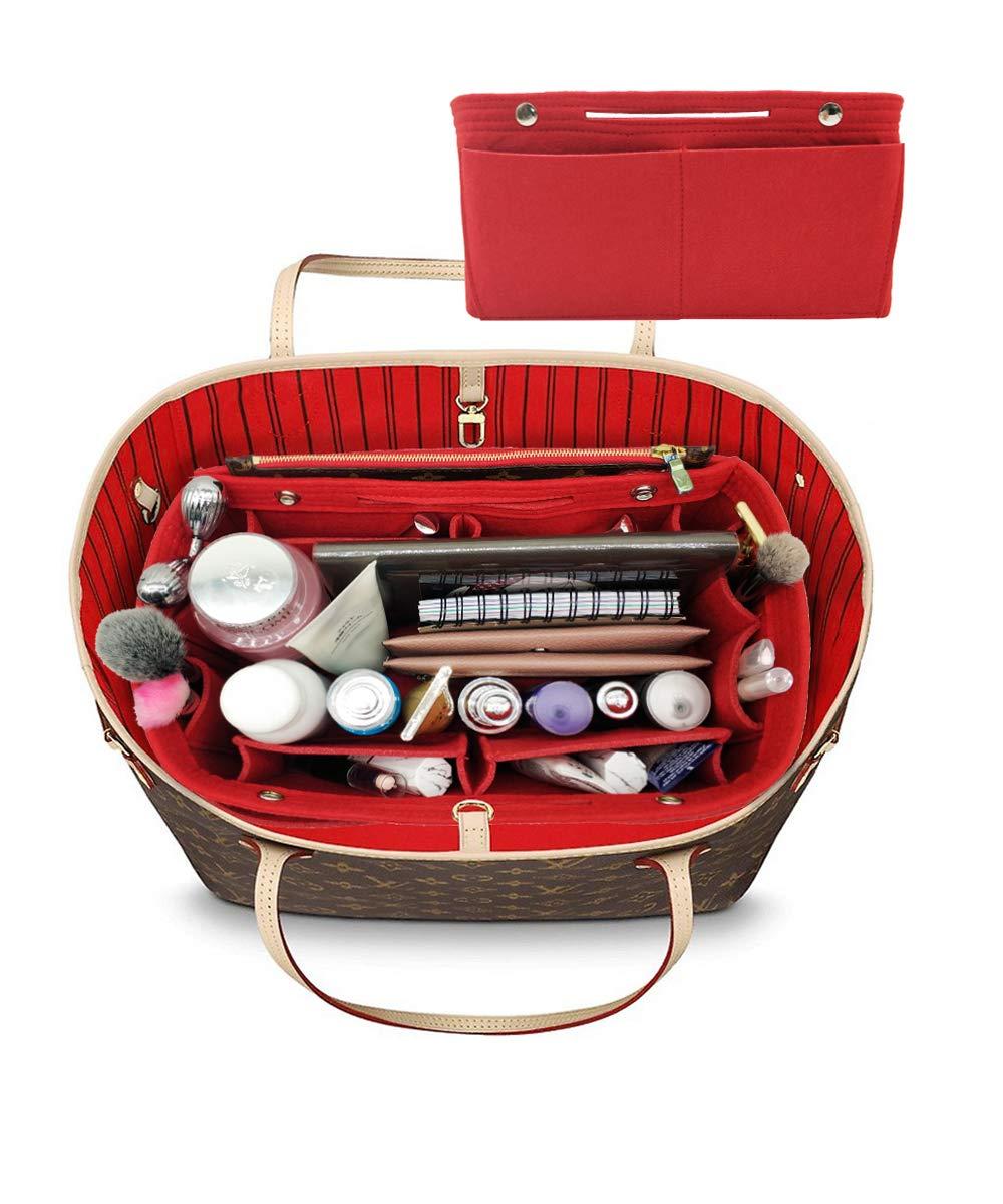 LEXSION Felt Fabric Purse Handbag Organizer Bag - MultiPocket Insert Bag 8008 Red L by LEXSION