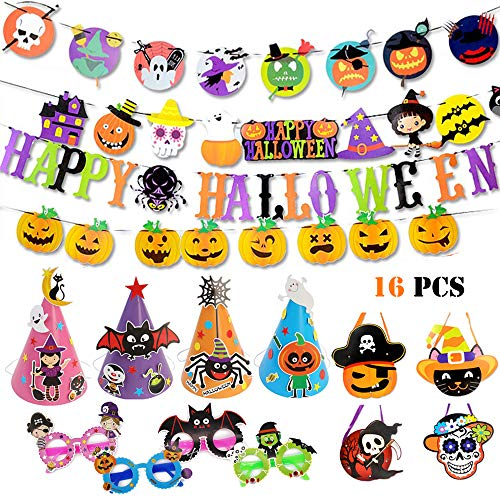 Joyfun Halloween Party Favors Halloween Party Supplies for Kids Paper DIY Toy Set Cartoon Decorations Banner Goody Bags Paper Hat Glasses Pumpkin Coco Bat Spider - 16 PCS -