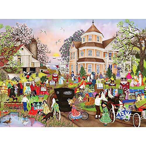 Bits and Pieces - 300 Large Piece Jigsaw Puzzle for Adults - Yard Sale - 300 pc Scenic Victorian Spring Jigsaw by Artist Tuula Burger