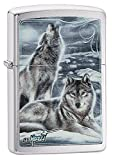 Zippo Mazzi Wolves Pocket Lighter, Brushed Chrome