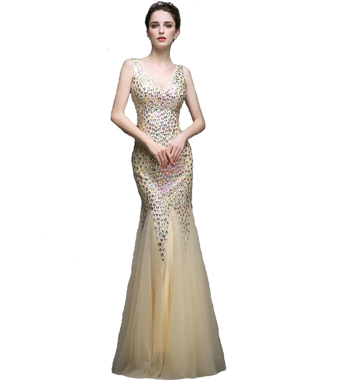 V-neck Golden Prom Dress Evening Gown
