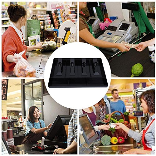Cash Drawer Register Insert Tray, Replacement 4 Bills 3 Coins Money Storage Box Plastic 12.6 x 9.6 x 1.4inch Black & White(Black) by Walfront (Image #2)