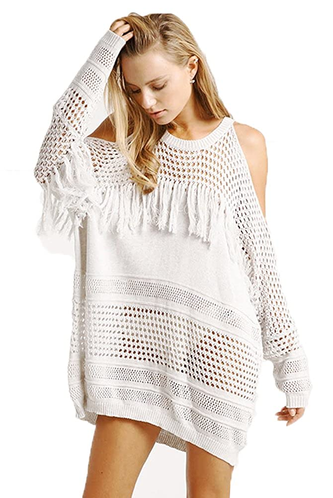 3040a1f0577df Yonala Women Crochet Fringe Hollow Out Beachwear Casual Beach Dress Bikini Swimsuit  Cover up at Amazon Women's Clothing store: