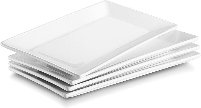 DOWAN Porcelana platos de servir/Placas, 25cmX14cm - juego de 4, White