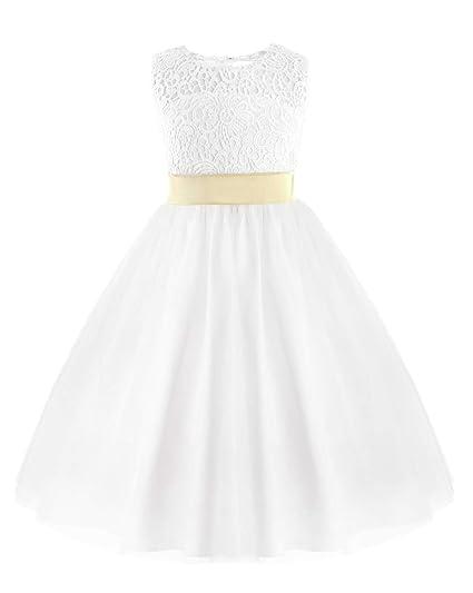 044208c353a0f iiniim Mode Robe Longue Princesse Cérémonie Enfant Fille Broderie Florale  Dentelle Robe sans Manches Dos à