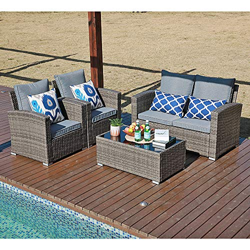 JOIVI Patio Furniture Set, 5 Piece PE Rattan Sectional Outdoor Conversation Sofa Set with Gray Wicker, Coffee Table with Tempered Glass, Gray Cushion