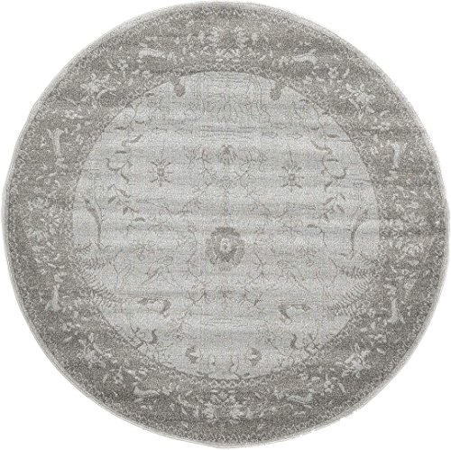 Synthesized Modern and Traditional Design - Light Gray, 6' Feet - Round St. Albans Collection Area rug - Vintage Contemporary Living Dining Room - Bedroom Decoration Rugs and Carpets (Area Rugs Large Round)