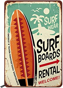 Swono Surf Boards Tin Signs,Surf Wear Rental Welcome Vintage Metal Tin Sign for Men Women,Wall Decor for Bars,Restaurants,Cafes Pubs,12x8 Inch