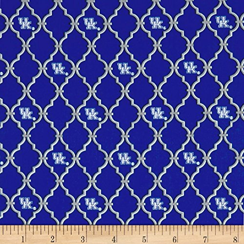 - Sykel Enterprises NCAA University of Kentucky Trellis Logo Allover Fabric by the Yard, Blue