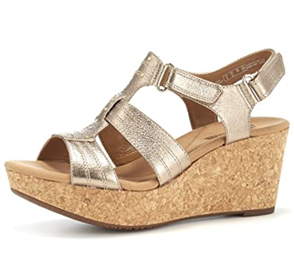 8bf47edafea Clarks Annadel Orchid Cushion Soft Wedge Sandal Wide Fit - Gold Metallic -  UK 9