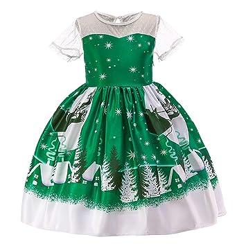 800f10875ca2 Amazon.com : Toddler Kids Baby Girl Santa Xmas Print Lace Sleeve Princess Dress  Christmas Swing Dress (Age:5-6 Years) : Beauty