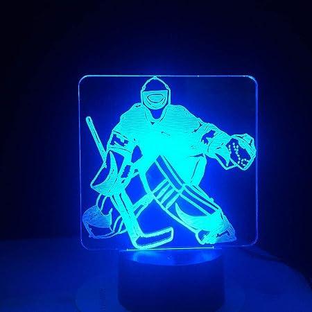 Dong Eishockey Goalie 3d Illusion Fernbedienung Modellierlampe S Nachtlicht Wechseln Usb Bett Led Schreibtisch Tisch Nachtlicht Lampe Amazon De Kuche Haushalt